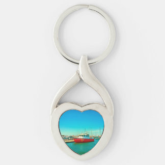 Santa Marta port Twisted Heart Silverfärgad Nyckelring