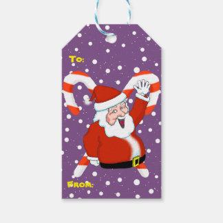 Santa med candy canejuletiketter presentetikett