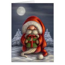 Santa med en gåva kort