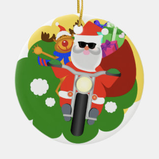 Santa med Goodie hänger lös Rund Julgransprydnad I Keramik