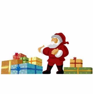 Santa med monterad fotoskulptur för presenter vägg stående fotoskulptur
