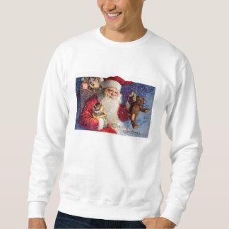 Santa med nalle och Krampus i en boxas Sweatshirt