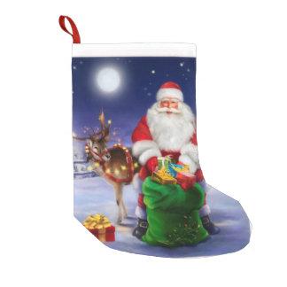 Santa med renen liten julstrumpa