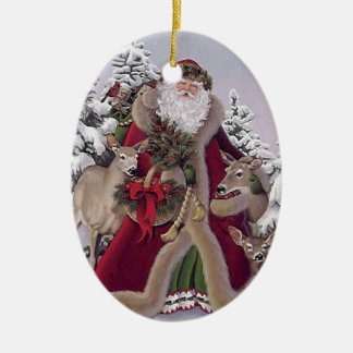 Santa med renen ovalformad julgransprydnad i keramik