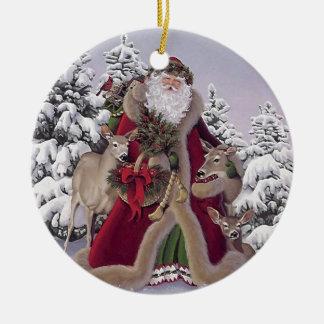 Santa med renen rund julgransprydnad i keramik