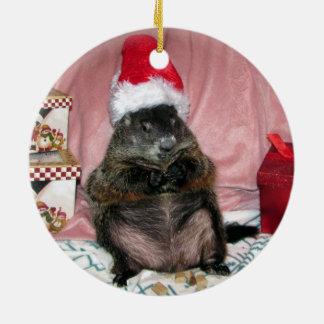Santa Moses älsklings- Groundhog julprydnad Julgransprydnad Keramik