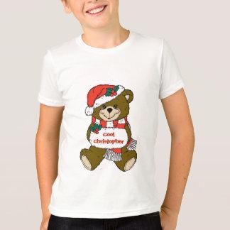 Santa nalle med hatten och muffen t-shirt