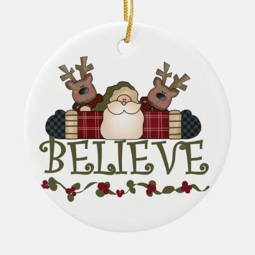 Santa och för ren tro minnessakprydnad juldekoration
