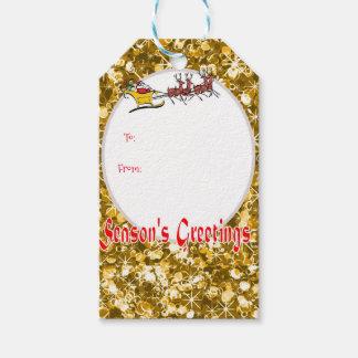 Santa och för sleigh sparkly guld- baubles presentetikett