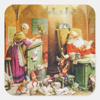 Santa och Fru Claus & älvorna på nordpolenen Fyrkantigt Klistermärke