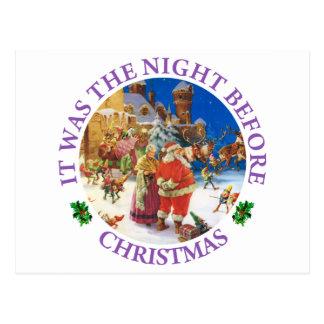 Santa och Fru Claus På natten för jul Vykort
