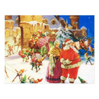 Santa och Fru Claus på nordpolenen Vykort