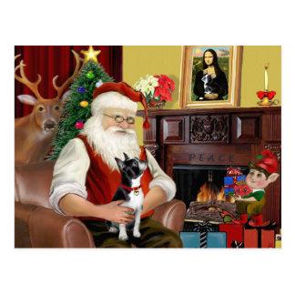 Santa och hans Boston Terrier Vykort