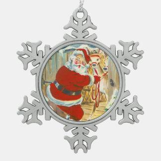 Santa och hans ren julgransdekorationer