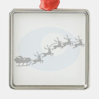 Santa och hans ren silverfärgad fyrkantigt julgransprydnad