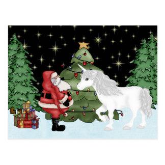 Santa och Magical julhelgdag för Unicorn Vykort