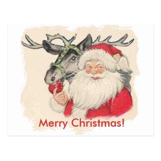 Santa och Raindeer vykort