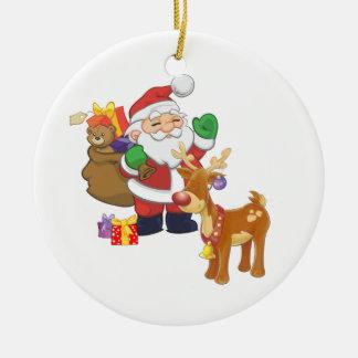 Santa och ren julgranskula
