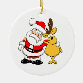 Santa och ren julgransdekorationer