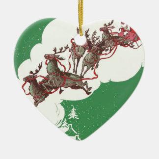 Santa och ren på julafton hjärtformad julgransprydnad i keramik