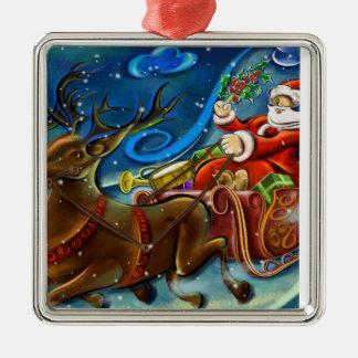 Santa och renar julgransdekoration