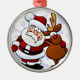Santa och renar rund silverfärgad julgransprydnad