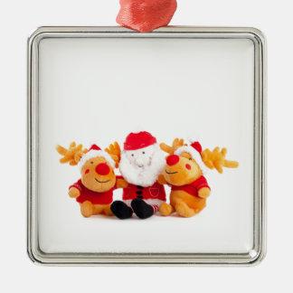 Santa och renar silverfärgad fyrkantigt julgransprydnad