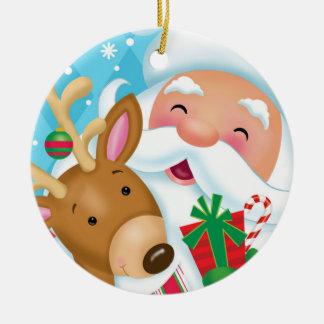 Santa och renprydnad rund julgransprydnad i keramik