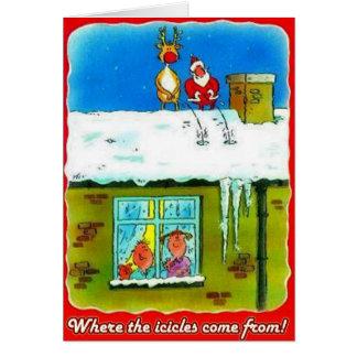 Santa och Rudolf kissar på takhälsningkort Hälsningskort