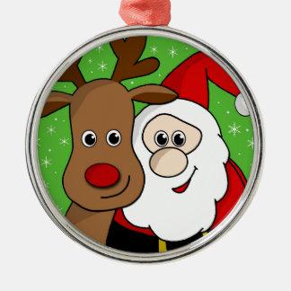Santa och Rudolph sefie Rund Silverfärgad Julgransprydnad