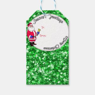 Santa och sparkly julbaubles presentetikett