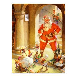 Santa övervakar älvor som bakar julkakor