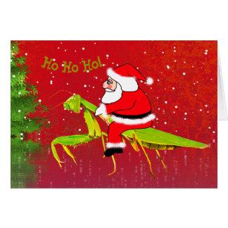 Santa på bönsyrsaanpassningsbarjulkort hälsningskort
