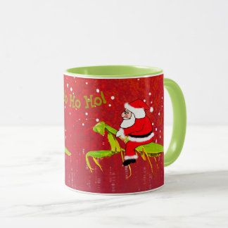 Santa på den kusliga julmuggen för bönsyrsa mugg