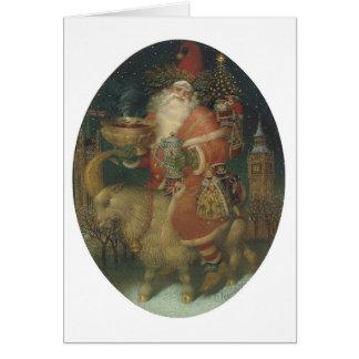Santa på en get hälsningskort