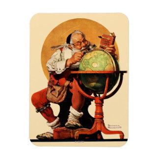Santa på jordklotet magnet