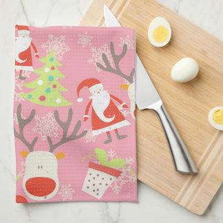 Santa, ren, julgran och lagd in växt kökshandduk
