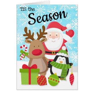 Santa, ren- och pingvinjulkort hälsningskort