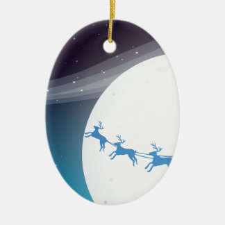 Santa resande med hans renar ovalformad julgransprydnad i keramik