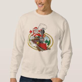 Santa rider en ångalokomotiv långärmad tröja