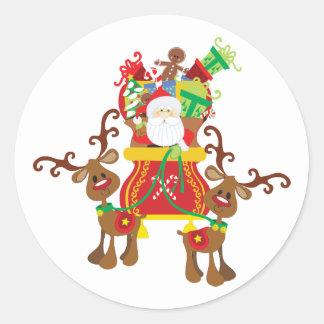 Santa Sleigh och renklistermärke Runt Klistermärke