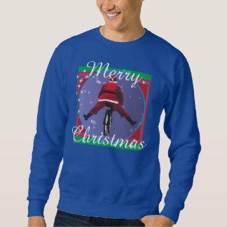 Santa som cyklar den fula jultröjan långärmad tröja