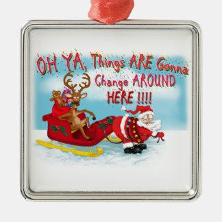 Santa som drar renen! julgransdekoration
