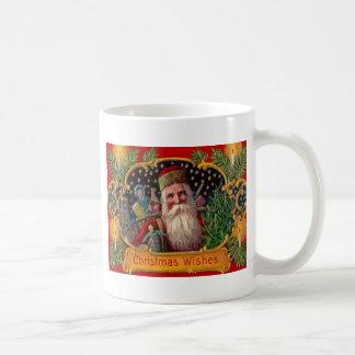 Santa som kommer med presenter vit mugg