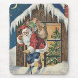 Santa som lämnar husjulgranen musmatta