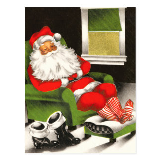 Santa som vilar helgdagvykortet vykort