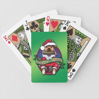 Santa tassar som leker kort spelkort