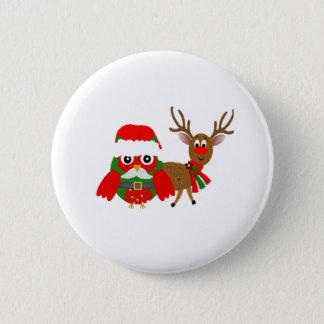 Santa uggla och standard knapp rund 5.7 cm