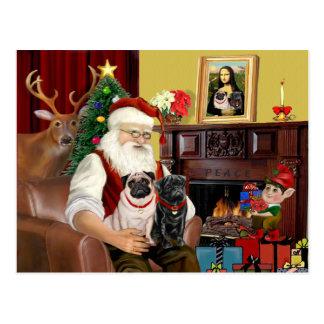 Santas 2 mops (lisma + svart) vykort