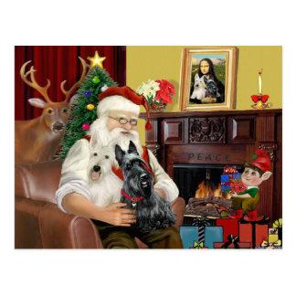 Santas 2 skotska Terriers Vykort